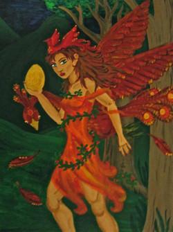 Firebird Girl Painting