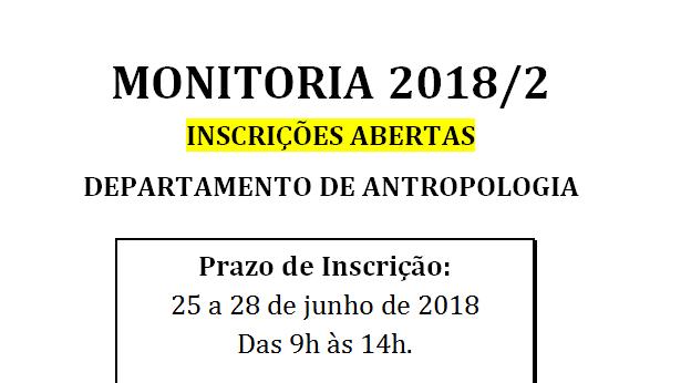 Abertura do Processo Seletivo para Monitoria 2018/2