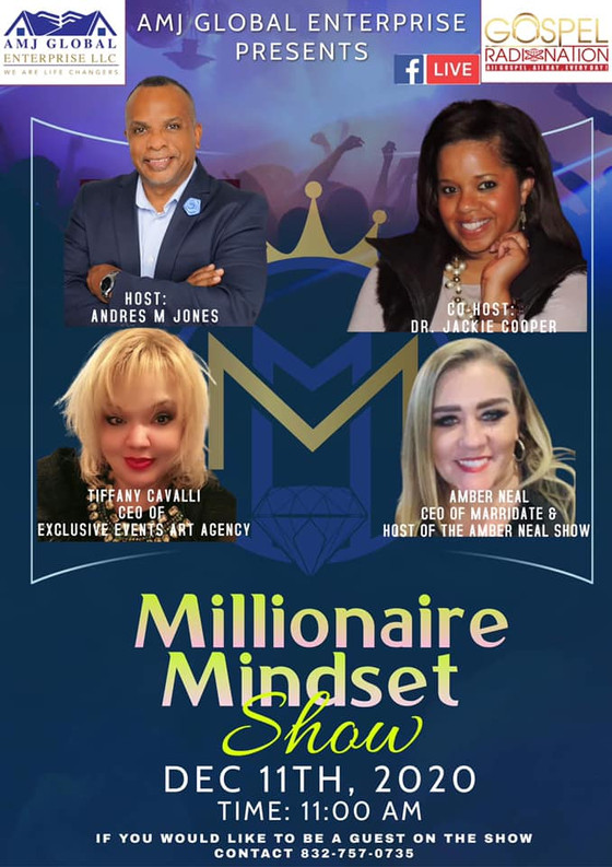 This Friday, catch me on the Millionaire Mindset Show with Host Andres M. Jones & Co-Host Dr. Jackie