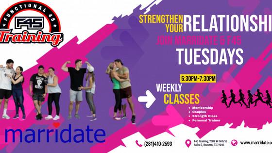 Join Marridate & F45 (Oak Forest location) every Tuesday in July! Free for members or $25 non member