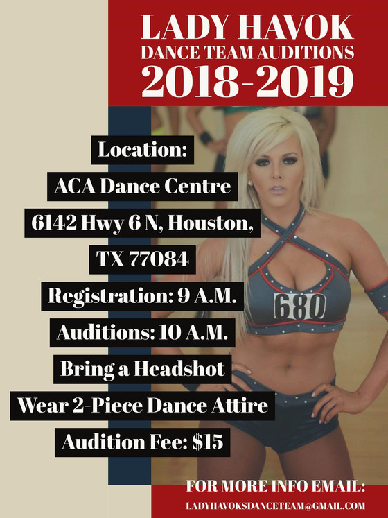 Team Havok PRO DANCE TEAM tryouts on August 18th! We will be in the building FILMING!!