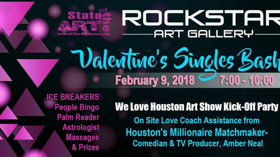 HUGE SINGLES VALENTINES BASH FEATURING MATCHMAKER AMBER NEAL AT ROCKSTAR ART GALLERY