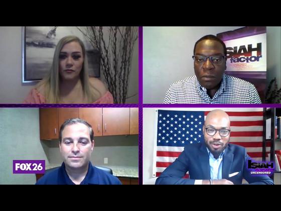 Back of Fox 26 News with Journalist Isiah Carey