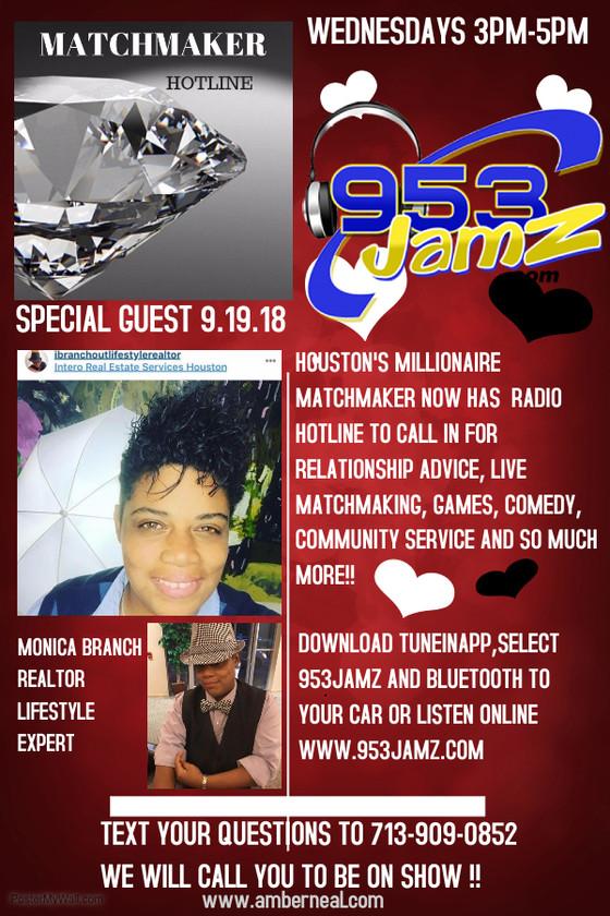 Tomorrow on the ALL NEW Matchmaker Hotline on www.953jamz.com!