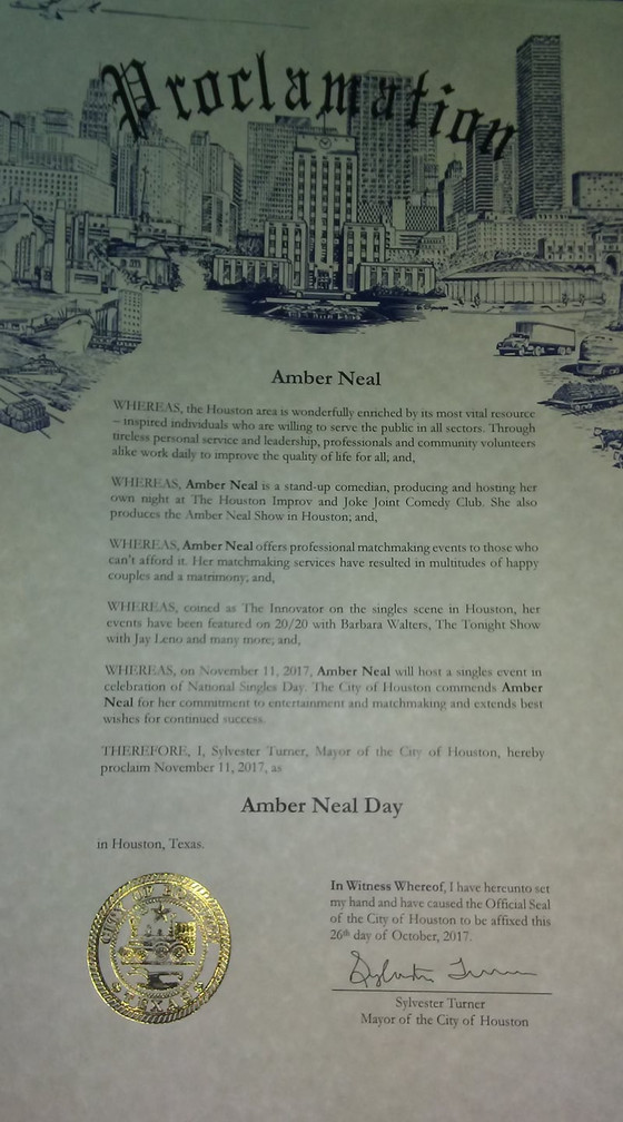 """It's official! City of Houston/Mayor Turner declare that November 11th is """"AMBER NEAL DAY&q"""