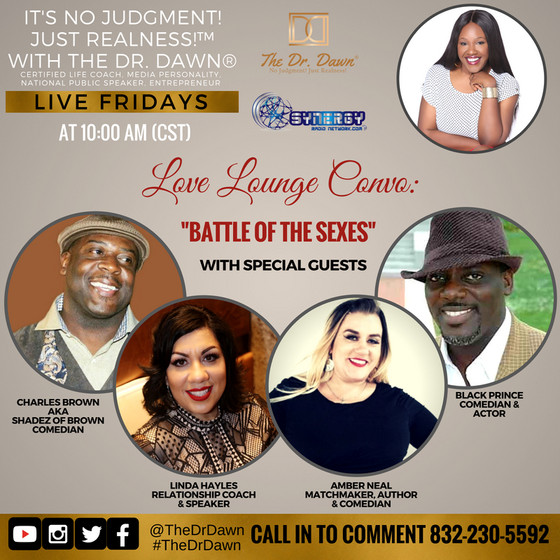 """Tune in THIS Friday as we play """"Battle of the Sexes"""" with @thedrdawn  - Friday 10am Synerg"""