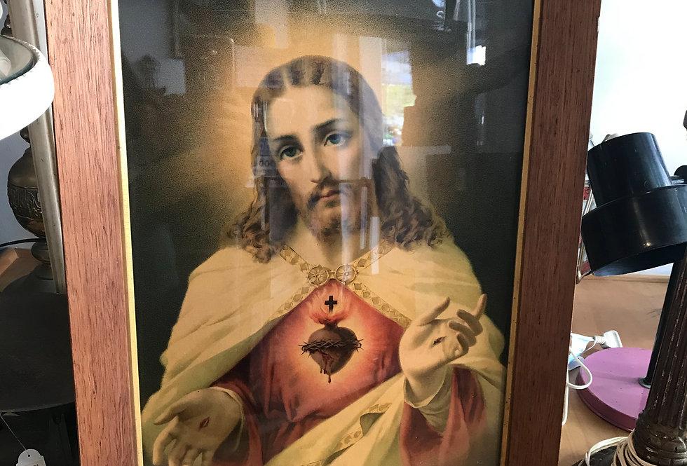 Vintage Oak Framed 'Jesus '