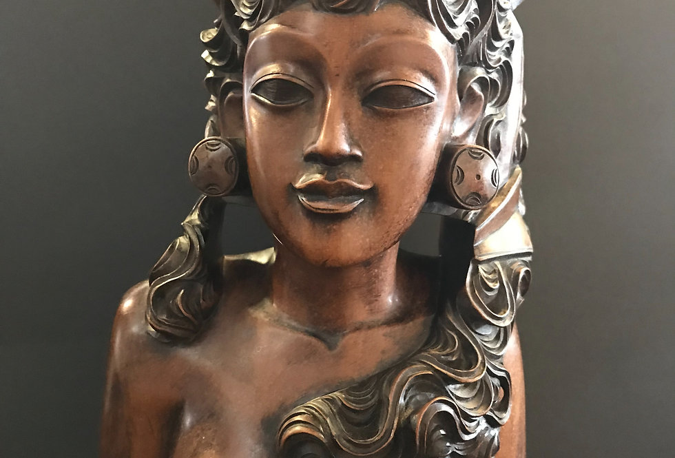 Vintage Hand Carved  Lady