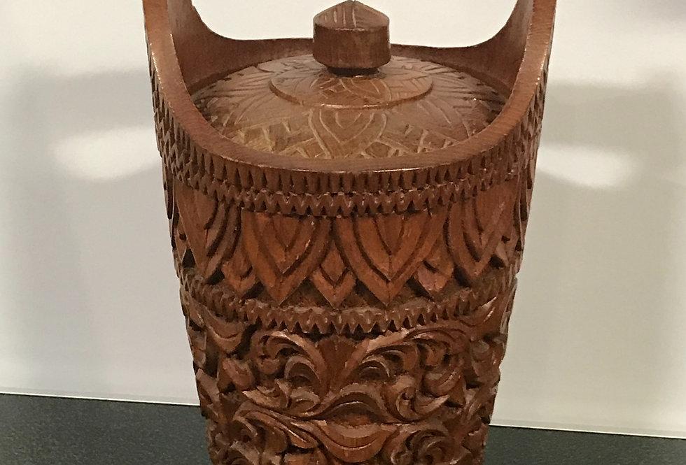 Vintage HandCarved Wooden Basket