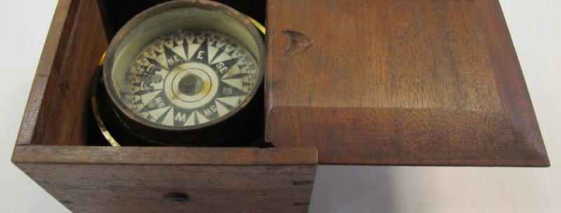 Antique Gimbal Compass in Dovetail Box