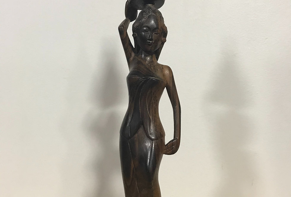 Vintage HandCarved Wooden Lady