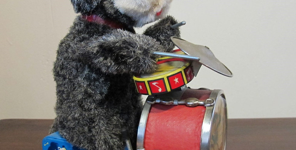 Vintage Tin Toy Drumming Dog Japan 1950s