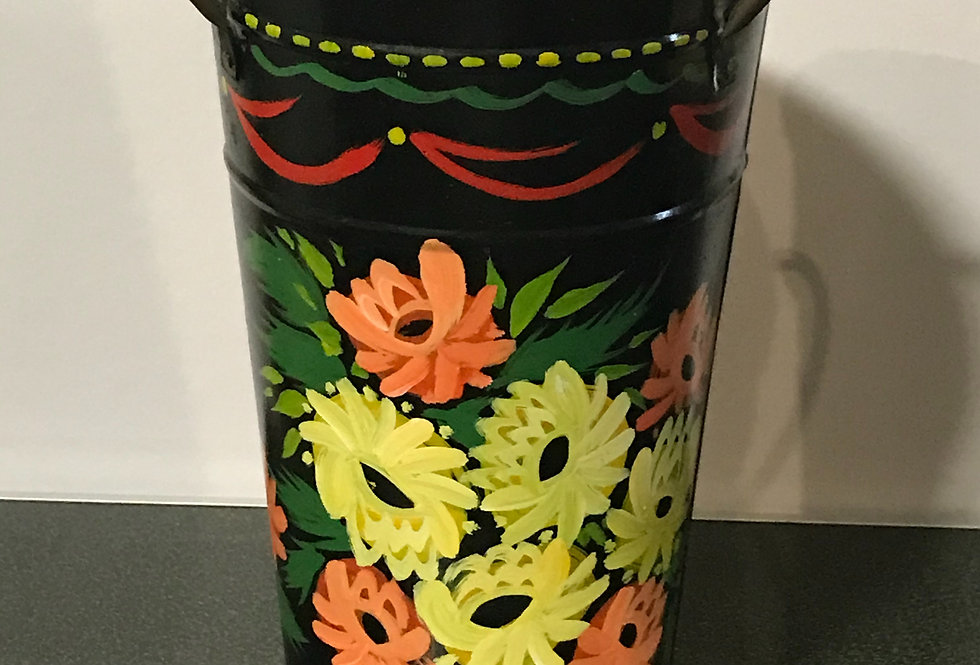 Vintage Metal hand painted Flower Pot