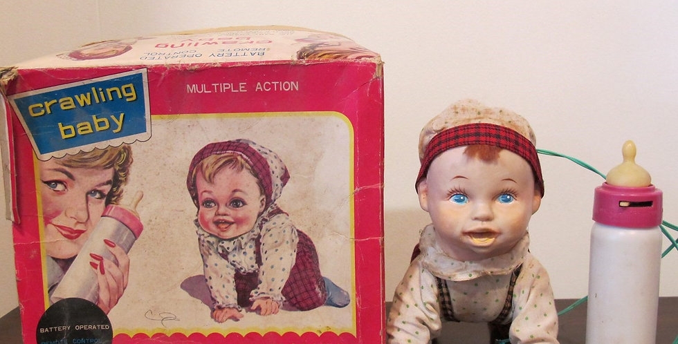 Vintage Crawling Baby Tin Toy