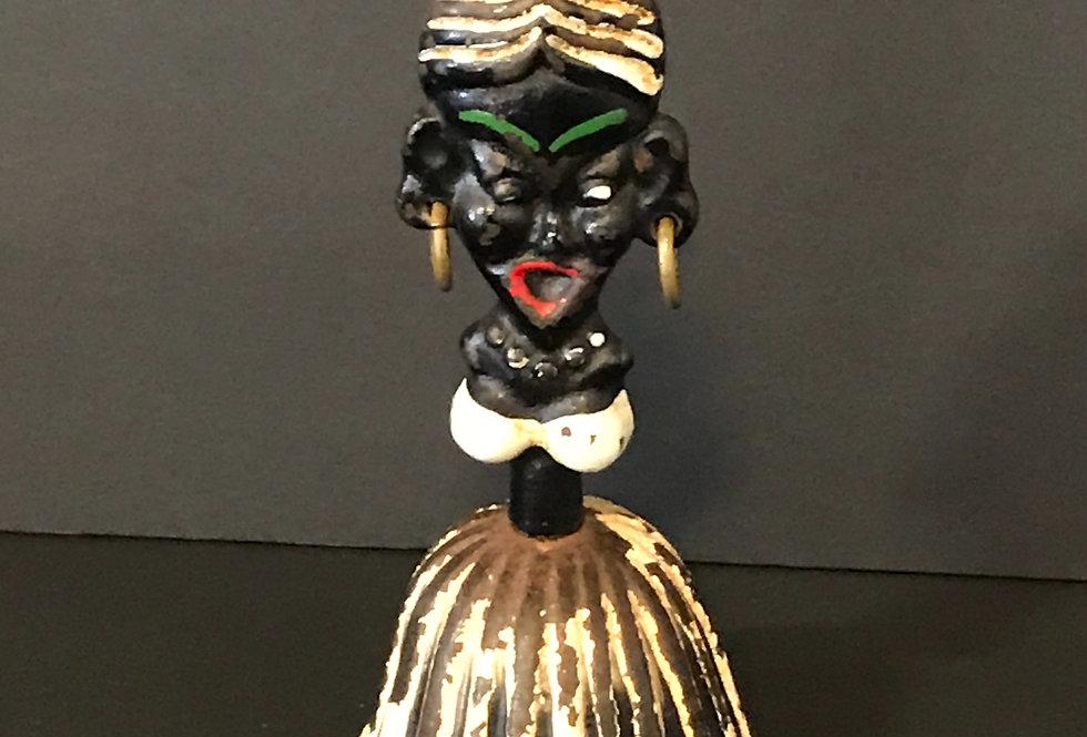Vintage Black Lady Metal Hand Bell