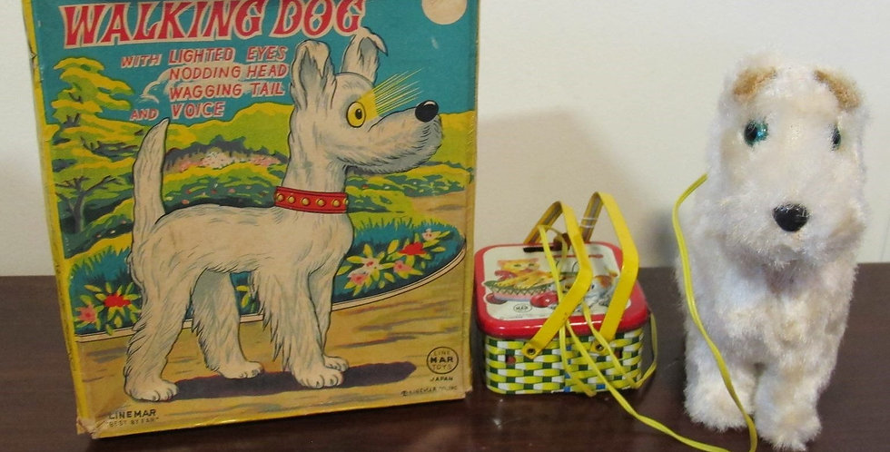 Vintage Dog with Basket eye light up Tin Toy