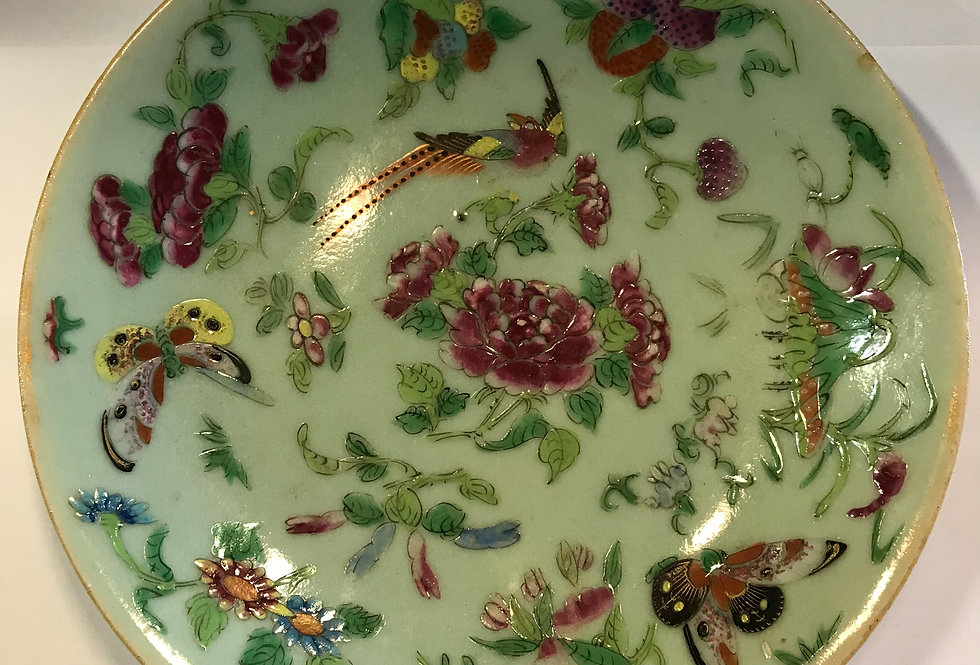 Antique Chinese Porcelain Celadon Plate -19th Century