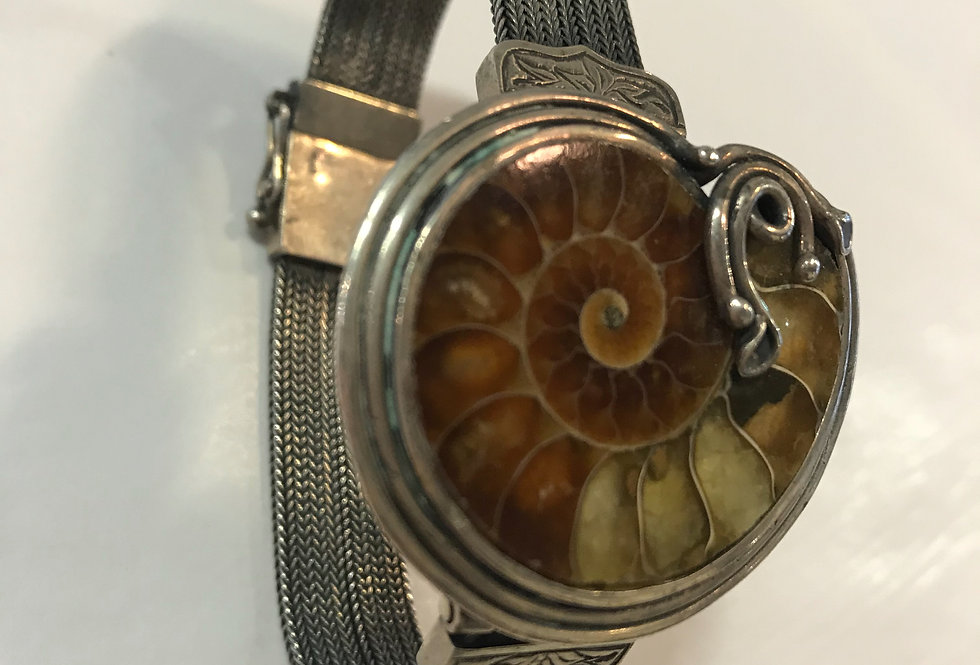 Art Noveau Sterling Silver & Ammonite Bracelet