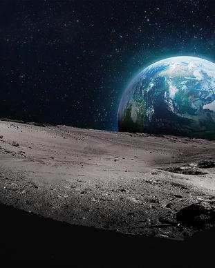 Moon surface with dark side. Earth on ba
