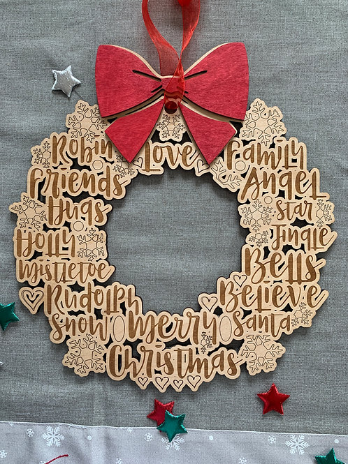 Wooden Christmas Wreath