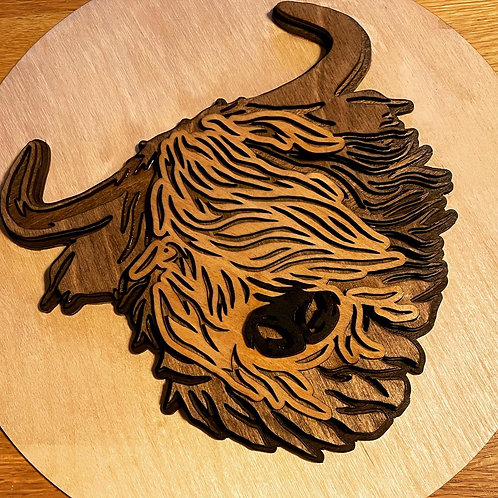 Layered Highland Cow on plaque