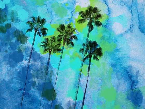 Palm trees on the beach  Embellished Canvas Giclee