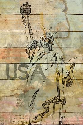 USA, Hand Embellished Canvas Giclee