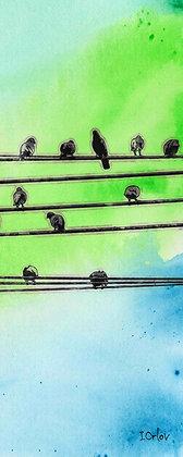 Birds Sketch, Hand Embellished Canvas Giclee