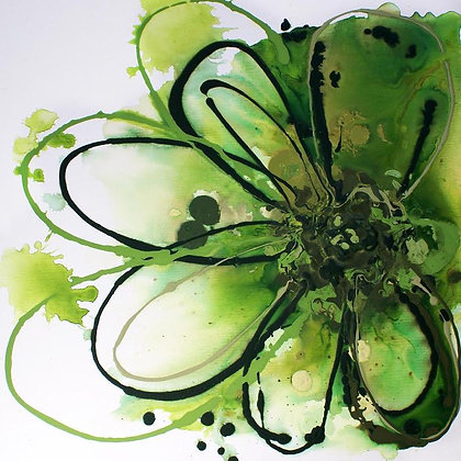 "24 x 24""  Green Abstract Splash Flower"