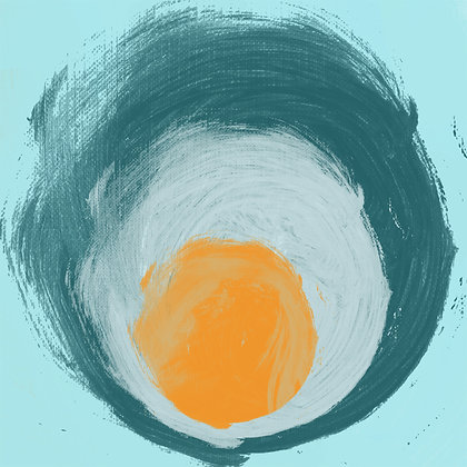 Aqua blue orange elements, Hand Embellished Giclee
