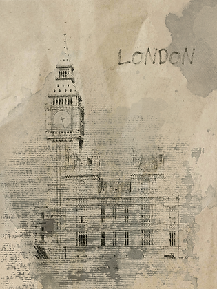 London, Rainy Mood  Embellished Canvas Giclee