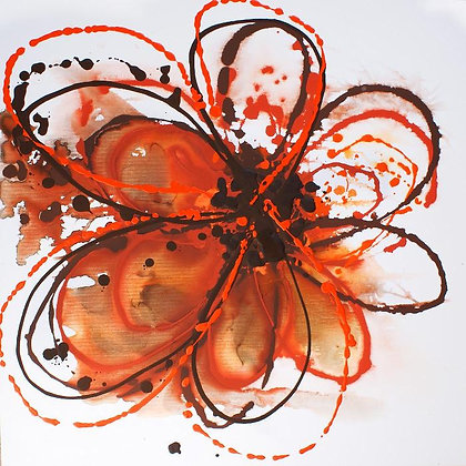 "24 x 24""  Orange Abstract by Irena Orlov"