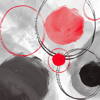 RED BLACK CIRCLES II, Hand Embellished Giclee