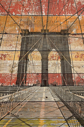 Brooklyn Bridge,  Hand Embellished Canvas Giclee