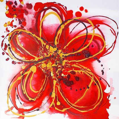 "24 x 24""  Red Abstract by Irena Orlov"