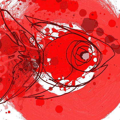 RED FISH, Hand Embellished Giclee