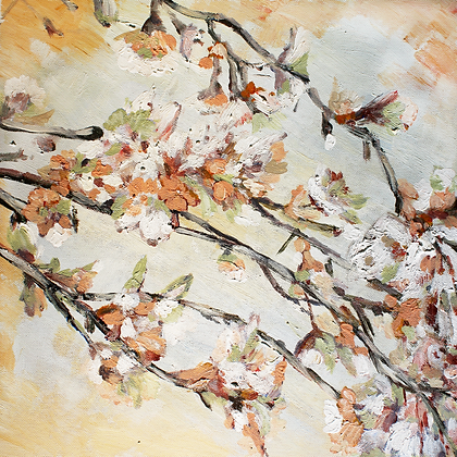 Cherry Blossom, Hand Embellished Canvas Giclee