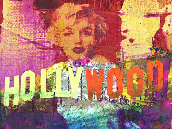 Hollywood, Hand Embellished Canvas Giclee