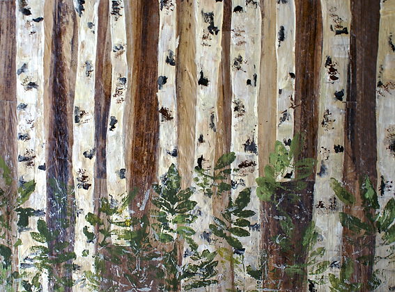 Silver Birch II, Hand Embellished Canvas Giclee