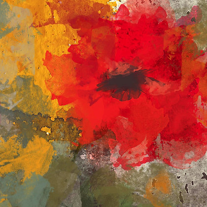 Wild Red Poppies, Hand Embellished Giclee