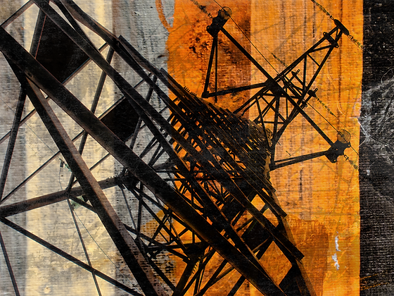 High-voltage, Hand Embellished Canvas Giclee