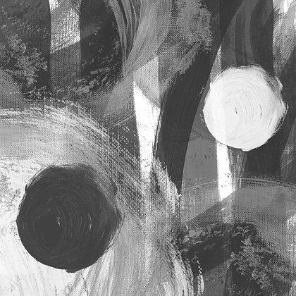 WHITE-BLACK CIRCLES II Hand Embellished Giclee