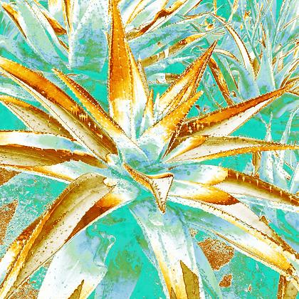 Cactus II.  Embellished Canvas Giclee