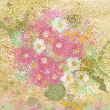 Summer Flowers II , Hand Embellished Giclee