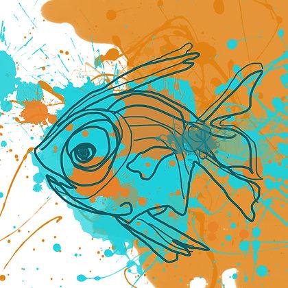 AQUA FISH, Hand Embellished Giclee