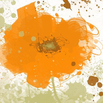 Modern orange, Hand Embellished Giclee