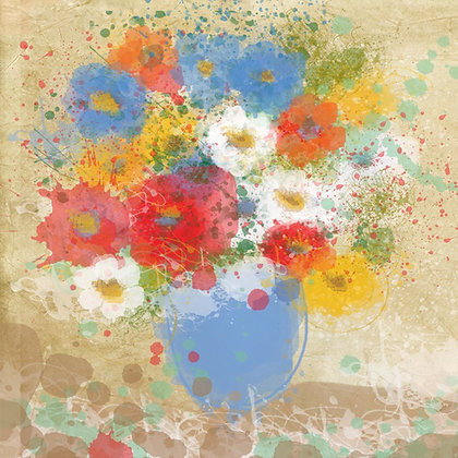 Bright Flowers , Hand Embellished Giclee