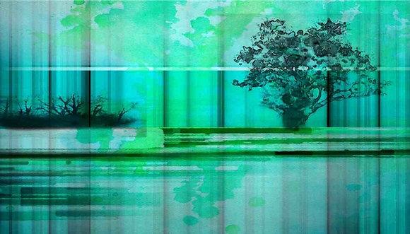 Green and Blue landscape Embellished Canvas Giclee