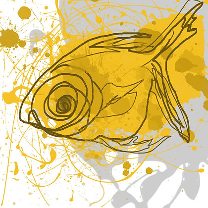 Yellow Fish, Hand Embellished Giclee