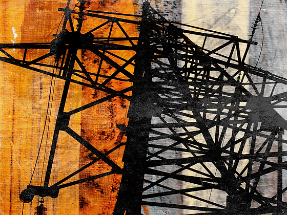 High-voltage II, Hand Embellished Canvas Giclee